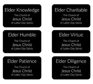 Elder Missionary tags representing values we want to develop from Simply Family Home Evening
