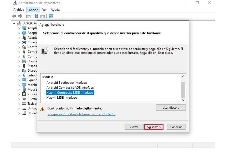 Instalación de drivers USB Xiaomi Android en Windows