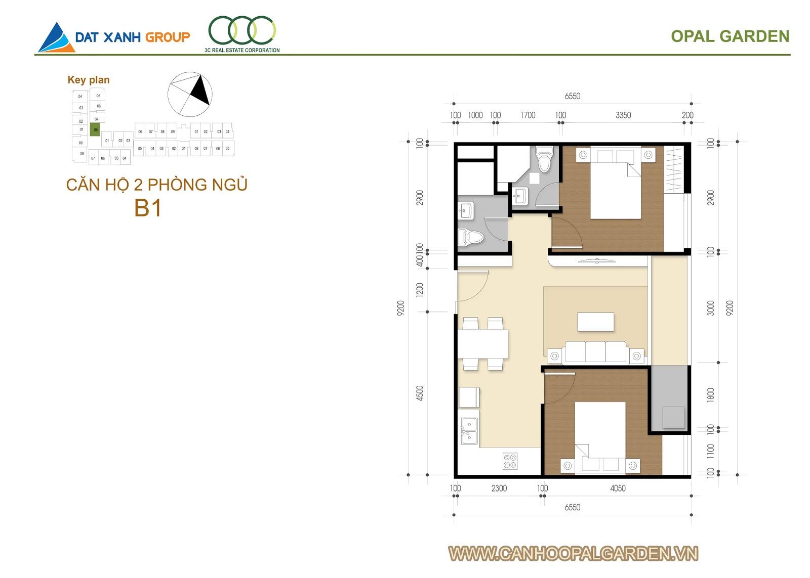 Thiết kế căn hô opal garden 2 phòng ngủ