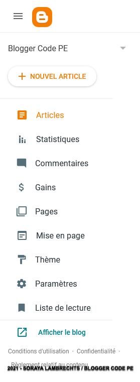 Le menu des administrateurs dans l'interface Blogger.
