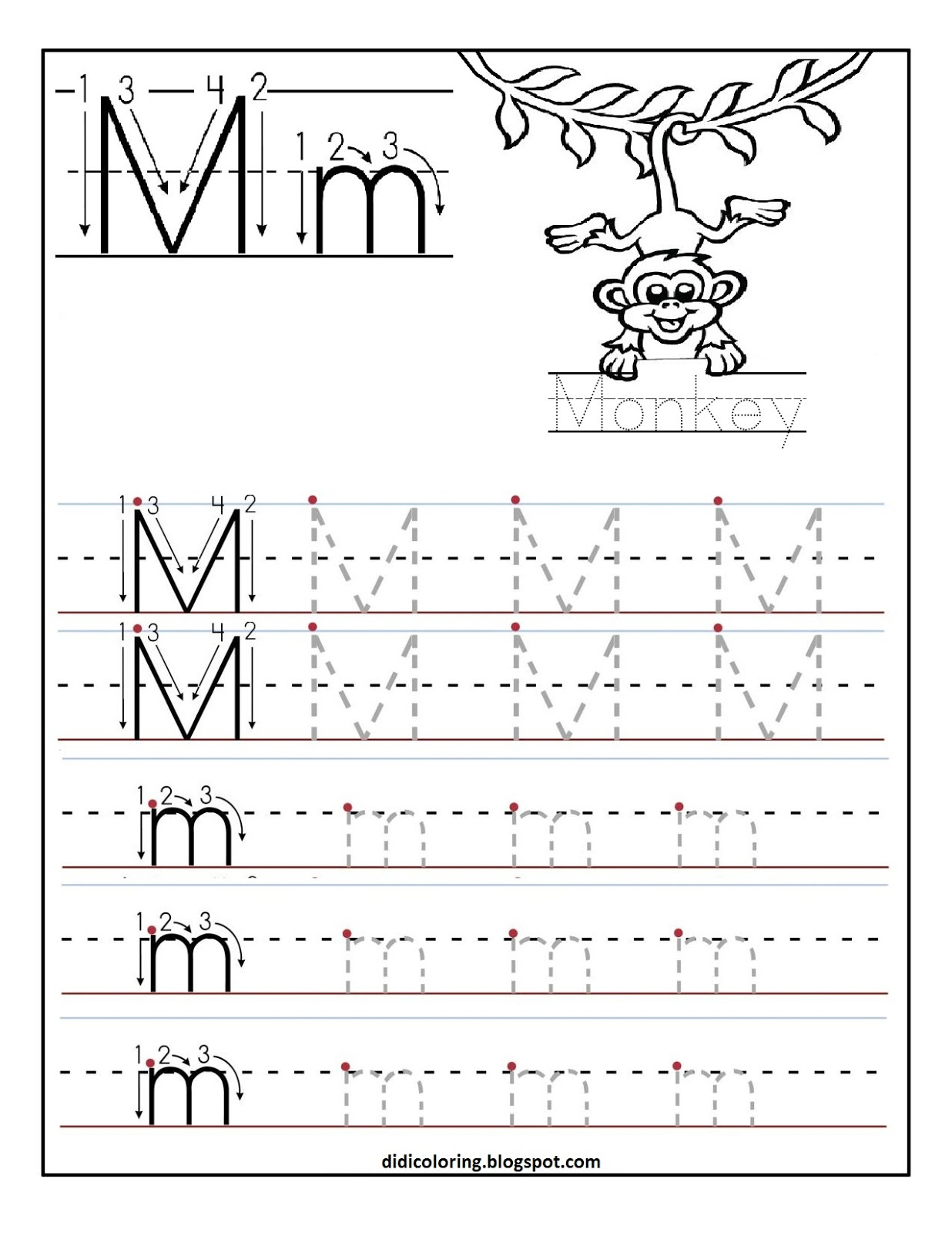 Didi coloring Page: Free printable worksheet letter M for your
