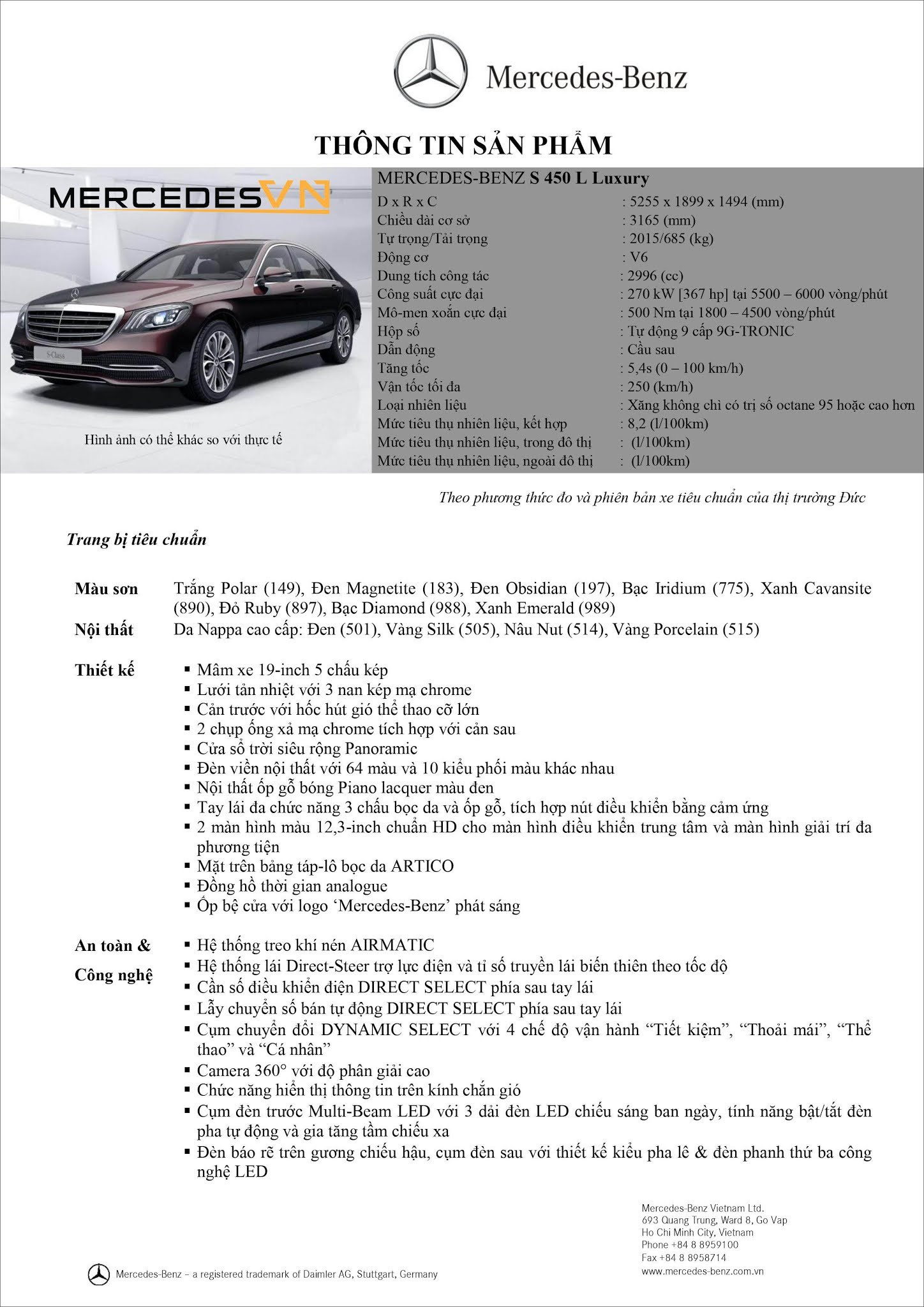 Bảng thông số kỹ thuật Mercedes S450 L Luxury 2021