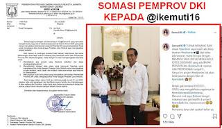Disomasi Pemprov DKI, Akun @IkeMutiP Diminta Buktikan Permintaan Hapus Foto dengan Presiden Jokowi