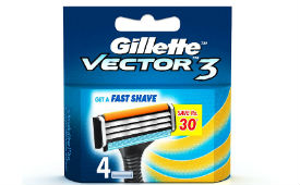 Gillette Vector 3 pack of 4 Cartridges For Rs 100 (Mrp 230) at Amazon deal by rainingdeal