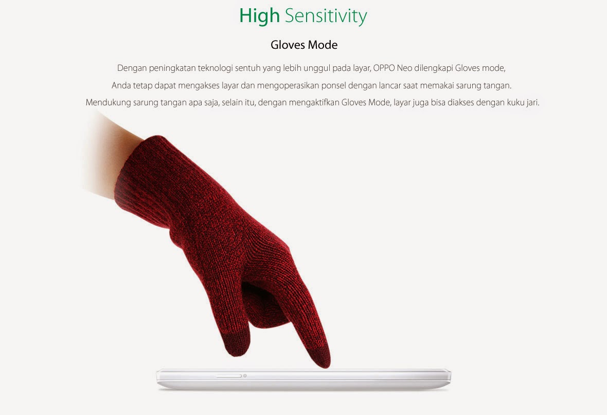 OPPO Neo Gloves mode