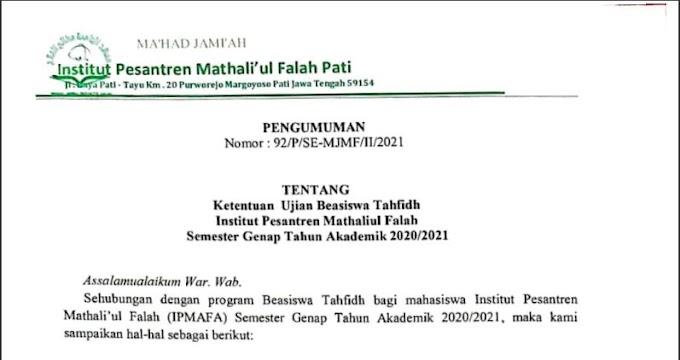 Pengumuman Beasiswa Tahfidz Semester Genap 2020/2021
