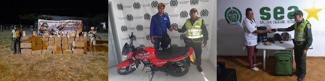 Millonario contrabando, recuperación de un robo y de una moto en el sur de La Guajira