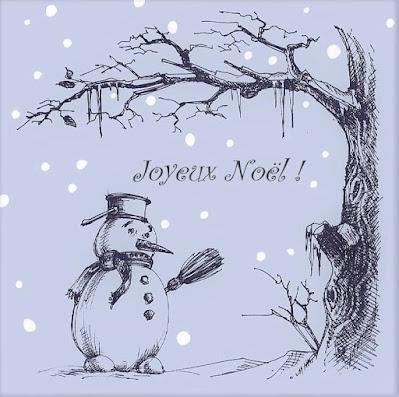 Bonhomme de neige sur une carte de vœux