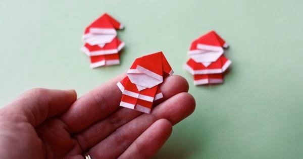 Make a tiny origami Santa