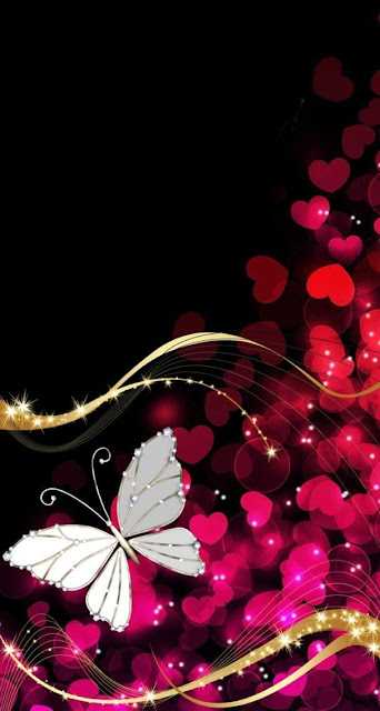 sparkling hearts and loving butterfly picture and backgrounds for mobile phones, Love and romance