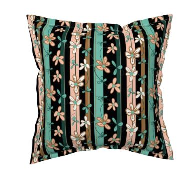 Throw Pillow featuring Floral Vines by Night fabric by eSheep Designs
