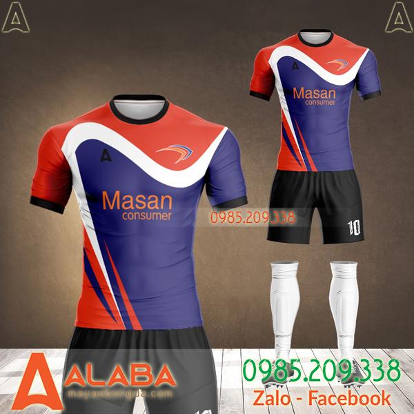 áo bóng đá thiết kế công ty masan màu tím đẹp