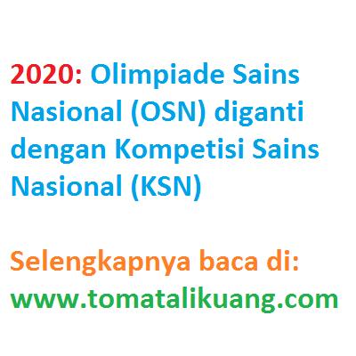 2020: OSN ganti nama menjadi KSN (Kompetisi Sains Nasional)