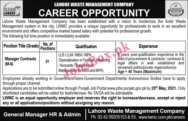 Latest Lahore Waste Management Company LWMC Jobs Advertisement 2021