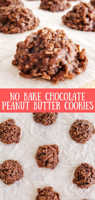 No Bake Chocolate Peanut Butter Cookies on parchment paper