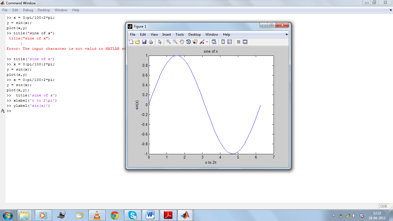 MATLAB Plot with labels & possible errors while using them