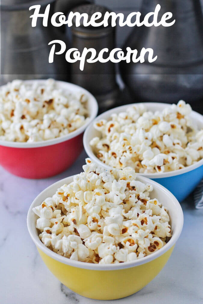 Homemade popcorn in bowls