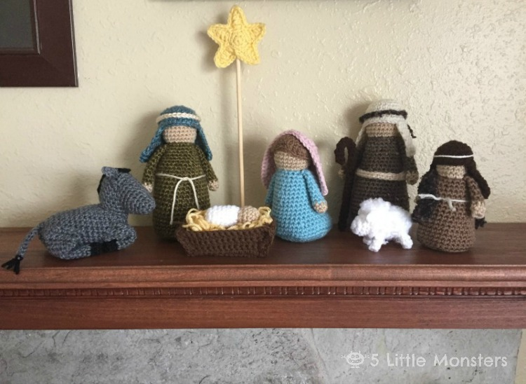 5 Little Monsters Crocheted Nativity Set