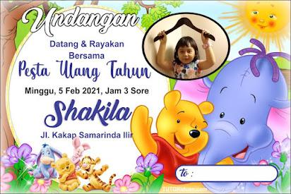 Desain Undangan Ultah Kartun Mini the Pooh CDR