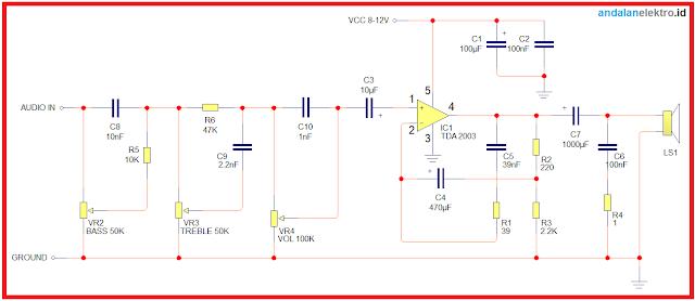 Skema rangkaian amplifier tda 2003 watt mono dengan tone control
