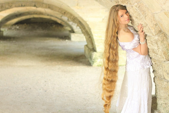 Rapunzel Model with Very Long Hair