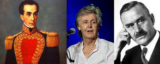 Simón Bolívar, Paul McCartney e Thomas Mann