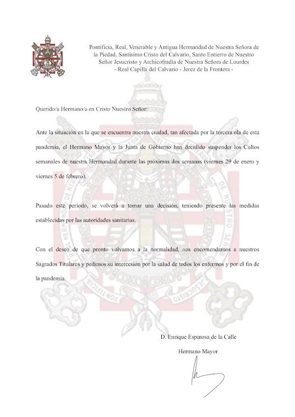 Suspensión de los cultos en la Hermandad de la Piedad de Jerez de la Frontera