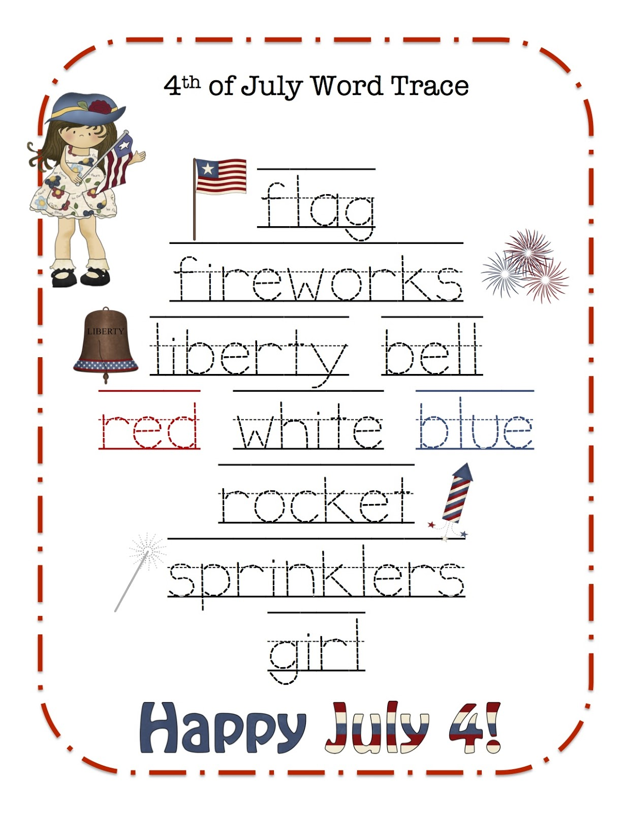 July Word Trace Craft