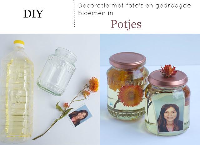 Decoratie met foto 39 s en gedroogde bloemen in potjes diy interieur ideeen elsarblog - Foto decoratie ...