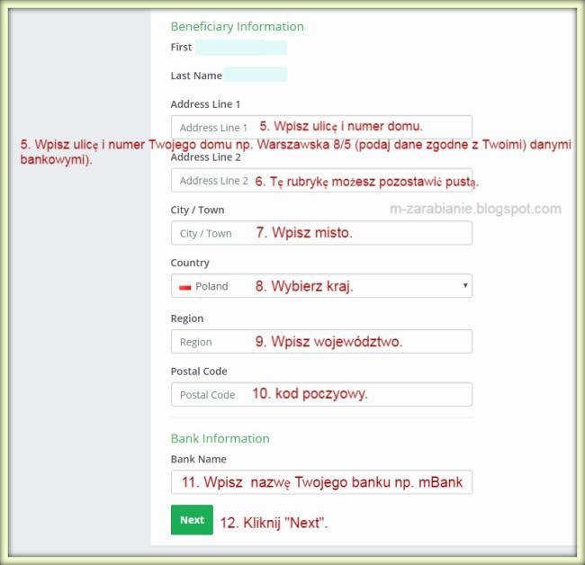 Payza — wypełnianie formularza — dodawanie konta bankowego.