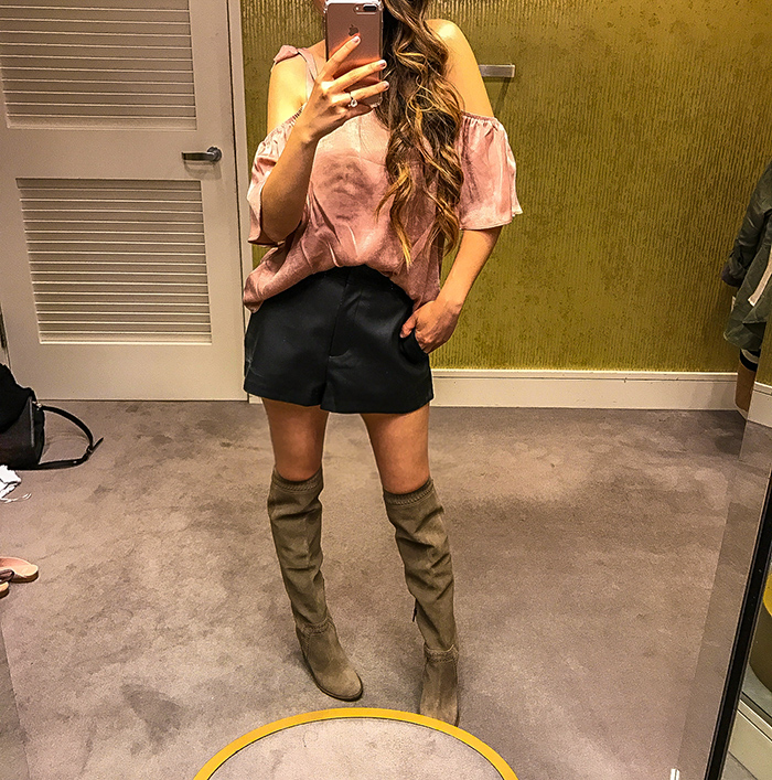 Nordstrom anniversary sale, nordstrom anniversary sale 2017, nordstrom anniversary sale 2017 try on haul, san francisco fashion blog, san francisco style blog, nsale picks, pink satin bow top, faux leather shorts, vince camuto over the knee boots