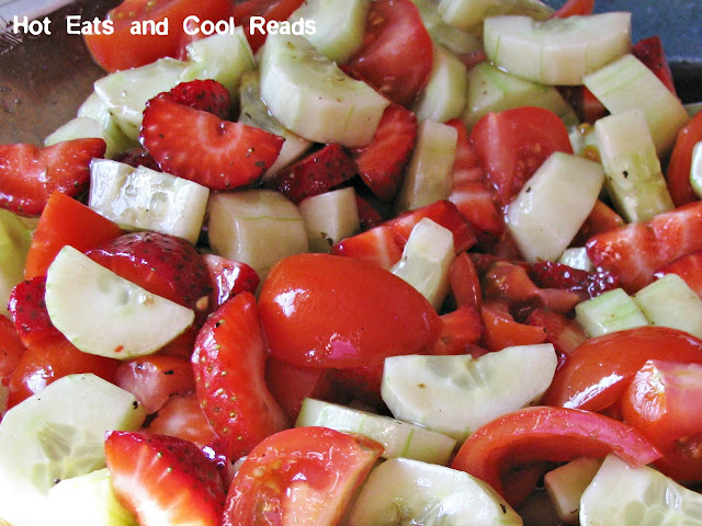 A fresh and delicious salad that's great for any meal! Ready in 10 minutes! Cucumber, Strawberry and Tomato Salad with Balsamic Vinaigrette Recipe from Hot Eats and Cool Reads