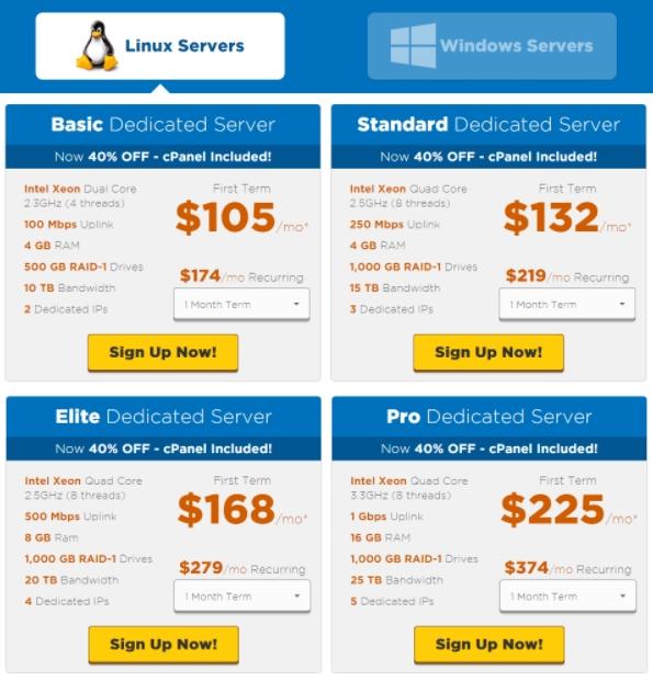 HostGator Dedicated Server Price too Plans