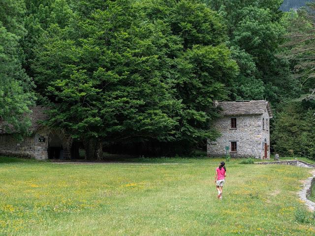 Niña de espaldas caminando por la pradera de Ordesa (Huesca)