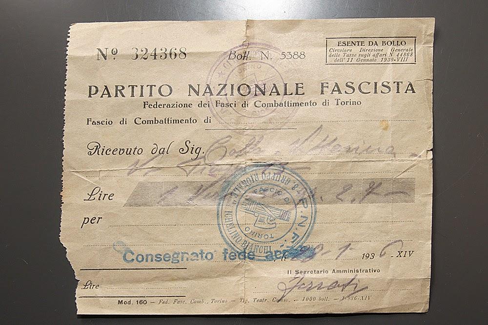 18 Dicembre 1935 - Oro alla patria anello ring fascismo fascio ricevuta partito nazionale fascista
