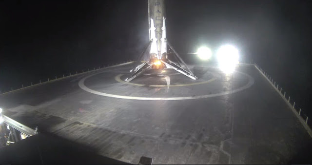Nearly hitting the center of the drone ship, SpaceX pulls off their fourth Falcon 9 first stage landing at sea. Credit: SpaceX