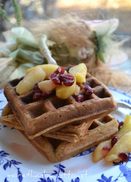 Gingerbread Waffles with Apples and Cranberries