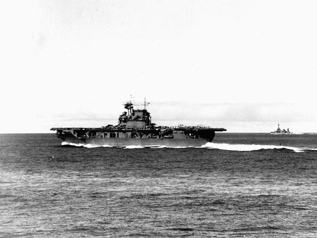 USS Enterprise operating at flank speed. 4 June 1942 worldwartwo.filminspector.com