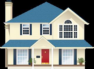 Imagem ilustrativa de uma casa de dois pisos nas cores branca e azul, com varanda e janelas ilustrando texto sobre visita ao imóvel locado