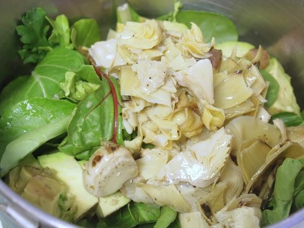 Gentleman Caller's favorite salad (Arugula Artichoke Avocado Salad with Red Wine Vinaigrette)