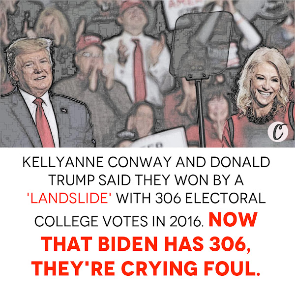 Kellyanne Conway and Donald Trump said they won by a landslide with 306 Electoral College votes in 2016. Now that Biden has 306, they're crying foul. — Yelena Dzhanova, Business Insider