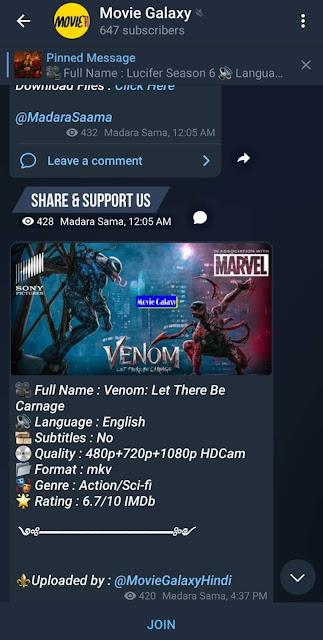 Movie galary channel on Telegram