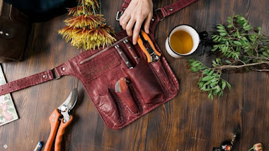 Cinturones en cuero para herramientas de jardinería