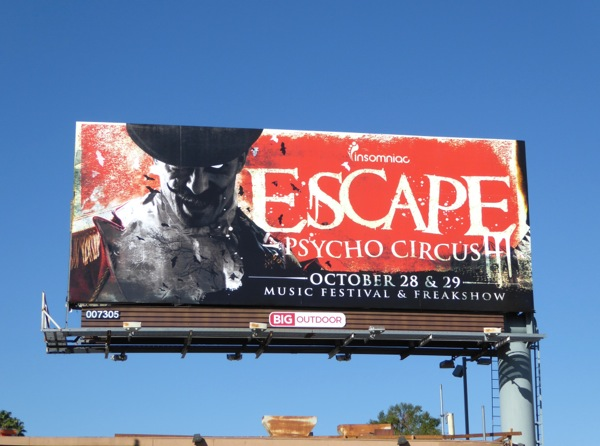 Insomniac Escape Psycho Circus Halloween billboard