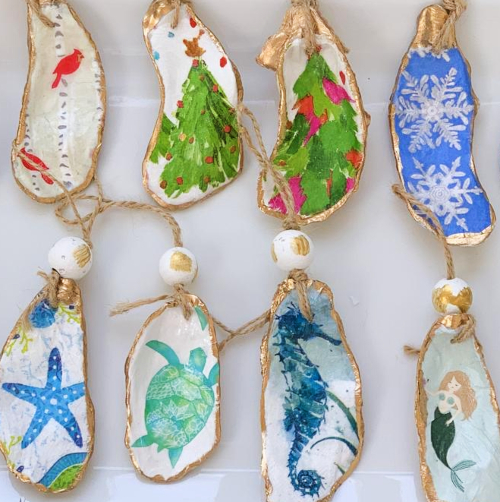 Oyster Shell Ornaments Art Painted
