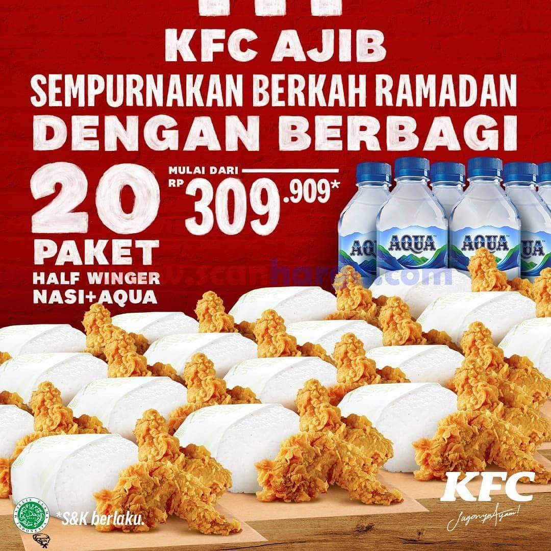 KFC AJIB Promo 20 Paket Half Winger + Nasi + Mineral harga mulai dari Rp 309.909