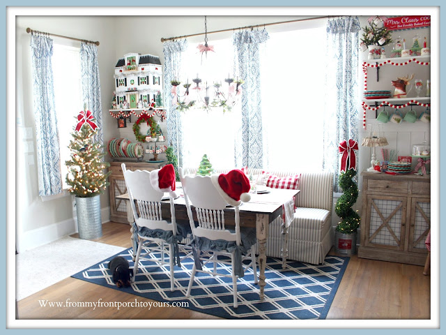 Cottage- Farmhouse -Christmas -Breakfast -Nook-French Farmhouse-Banquette-Seating-DIY-Planked-Table-Vinatge-Chairs-Hearth & Hand-Dollhouse-Vintage-Style-From My Front Porch To Yours