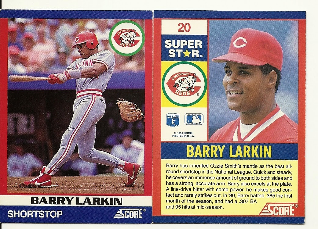 Nachos Grande Barry Larkin Collection 257 1991 Score 100