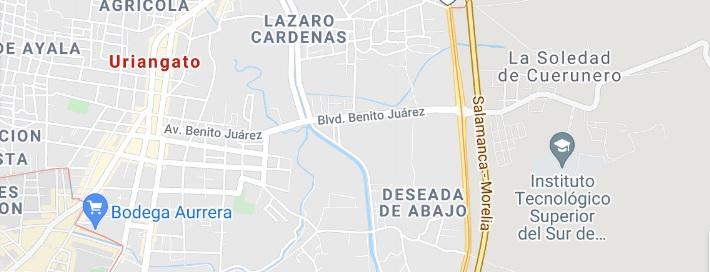 Uriaganto, Guanajuato mapa de ubicación y Como llegar.