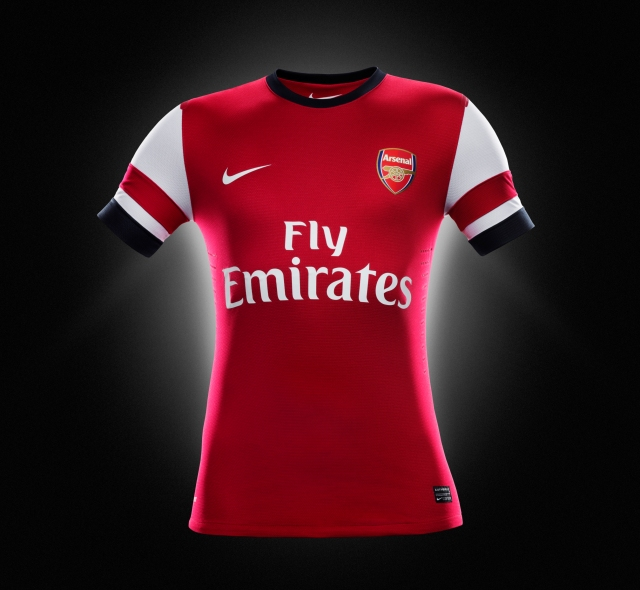 52db3a70951 The new Arsenal home shirt for the 2012-13 season which pays tribute to the  North London club s visionary past and bright future